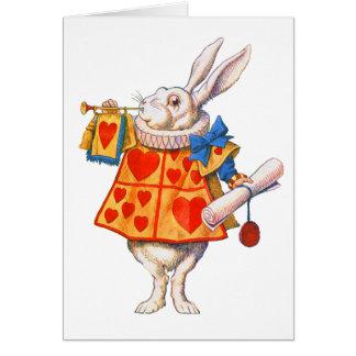 ALICE S WHITE RABBIT GREETING CARD