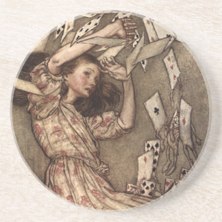 Alice Swarmed by Playing Cards Coaster