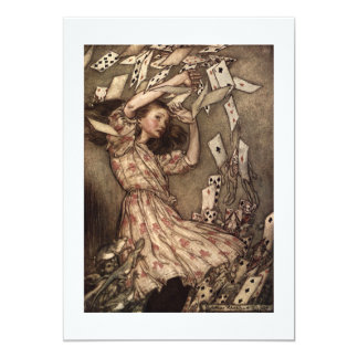 Alice Swarmed by Playing Cards 13 Cm X 18 Cm Invitation Card
