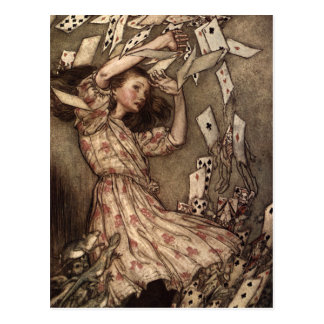 Alice Swarmed by Playing Cards Postcard
