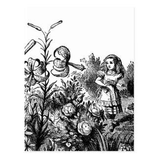 Alice Talks with Garden Flowers Postcard