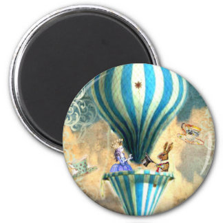 Alice Tea Party in the Sky Hot Air Ballon 6 Cm Round Magnet