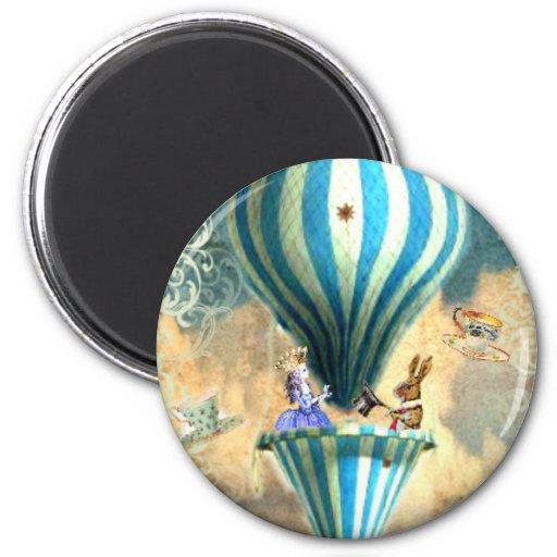 Alice Tea Party in the Sky Hot Air Ballon Magnets