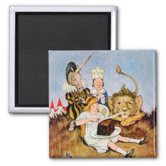 Alice Tells A Lion & Unicorn Cake Makes It Better Square Magnet