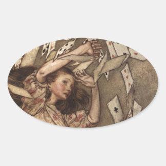 Alice & the Cards by Arthur Rackham Oval Sticker