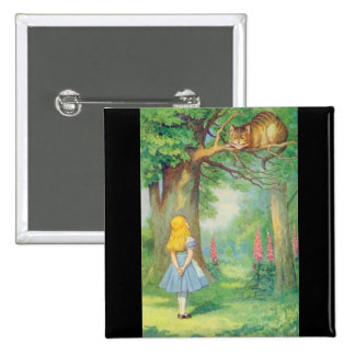 Alice & the Cheshire Cat Color 15 Cm Square Badge