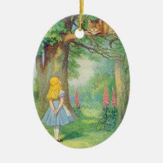 Alice & the Cheshire Cat Color Ceramic Oval Decoration