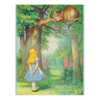 Alice & the Cheshire Cat Color Postcard