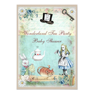 Alice & the Cheshire Cat Wonderland Baby Shower 13 Cm X 18 Cm Invitation Card