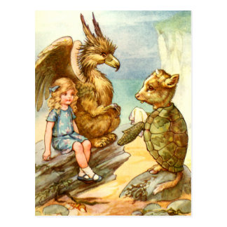 ALICE, THE GRIFFIN AND THE MOCK TURTLE POSTCARD