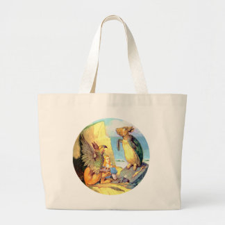Alice, the Griffin & the Mock Turtle in Wonderland Large Tote Bag