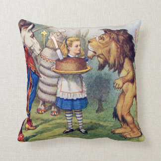 Alice, The Lion and The Unicorn in Wonderland Throw Pillow