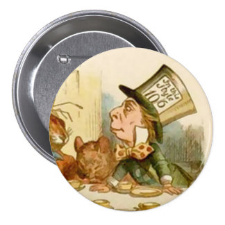 "Alice - The Mad Hatter - 3"" Button"
