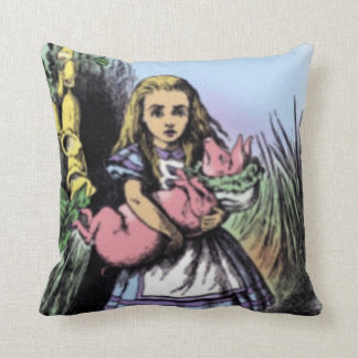 Alice & the Pig Baby in Pastels American MoJo Pill Throw Pillow