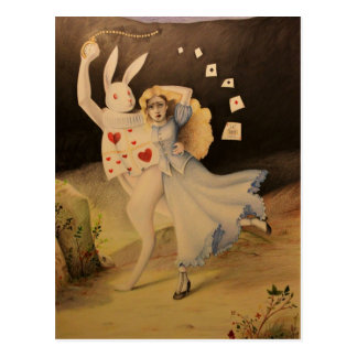 Alice & The Rabbit with Watch - Hand Sketch Postcard