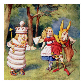 Alice, the White King & the Rabbit in Wonderland Poster
