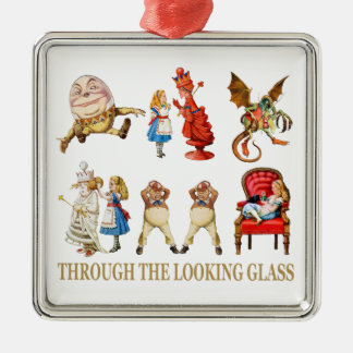 Alice Through the Looking Glass Silver-Colored Square Decoration