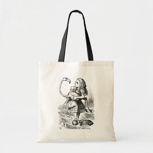 Alice trying to play croquet with a flamingo bag