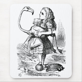 Alice trying to play croquet with a flamingo mouse mat