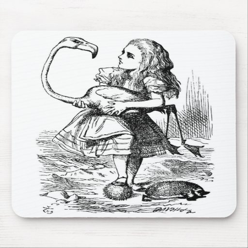 Alice trying to play croquet with a flamingo mouse pads
