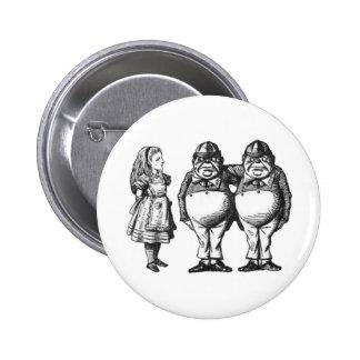 Alice, Tweedle Dee & Tweedle Dum in Black & White 6 Cm Round Badge
