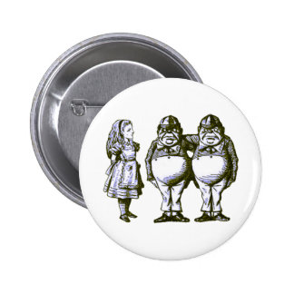 Alice, Tweedle Dee & Tweedle Dum in Blue Tint 6 Cm Round Badge