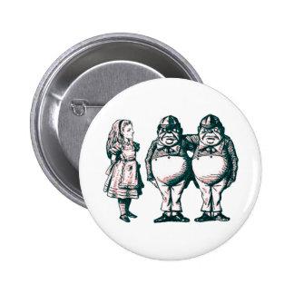 Alice, Tweedle Dee & Tweedle Dum in Pink Tint 6 Cm Round Badge