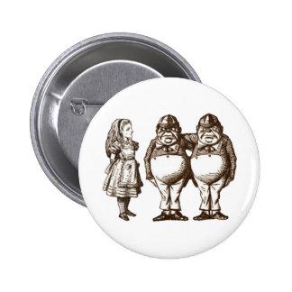 Alice, Tweedle Dee & Tweedle Dum in Sepia 6 Cm Round Badge