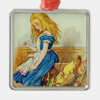 Alice Upsets the Jury-Box Silver-Colored Square Decoration