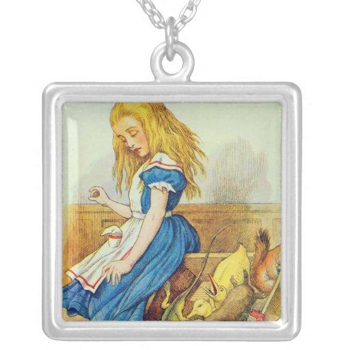 Alice Upsets the Jury-Box Square Pendant Necklace
