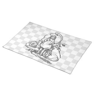 Alice with Caterpillar and White Rabbit Placemat
