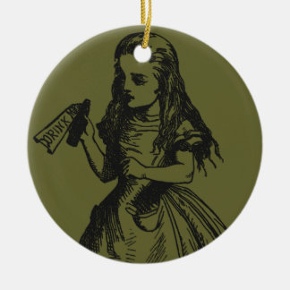 """Alice with """"Drink Me"""" Bottle Christmas Ornament"""