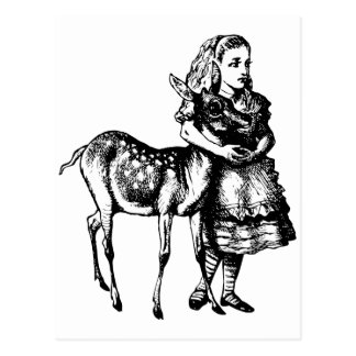Alice with Fawn Inked Black Postcard