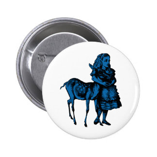 Alice with Fawn Inked Blue Fill 6 Cm Round Badge