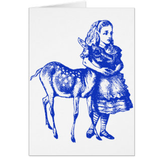 Alice with Fawn Inked Blue Greeting Card