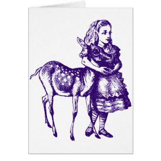 Alice with Fawn Inked Purple Greeting Card
