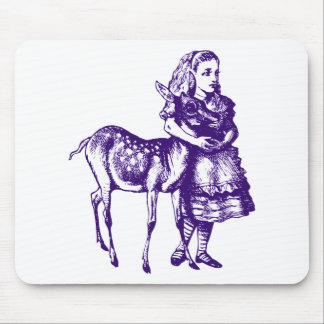 Alice with Fawn Inked Purple Mouse Pad