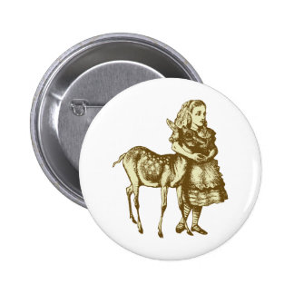 Alice with Fawn Inked Sepia 6 Cm Round Badge