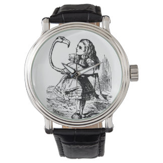alice with flamingo watches
