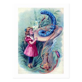 Alice with Hookah Smoking Caterpillar Postcard