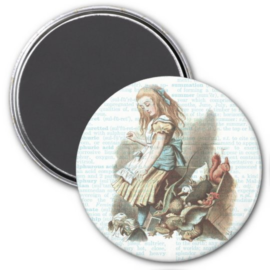 Alice Wonderland Favours Vintage Book Page Art Magnet
