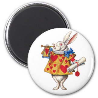 ALICE'S WHITE RABBIT IN WONDERLAND 6 CM ROUND MAGNET