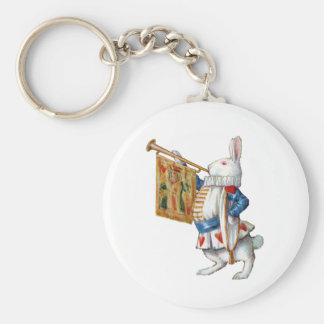 ALICES WHITE RABBIT IN WONDERLAND BASIC ROUND BUTTON KEY RING