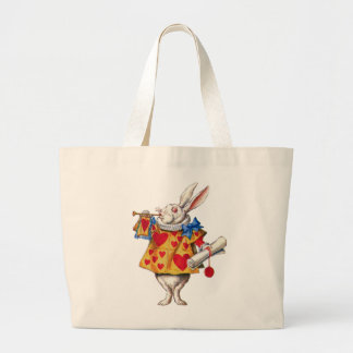 ALICE'S WHITE RABBIT IN WONDERLAND LARGE TOTE BAG