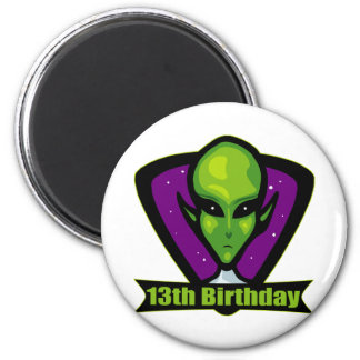 Alien 13th Birthday Gifts Magnets