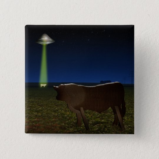 Alien Abduction of Fake Cows in the Pasture 15 Cm Square Badge