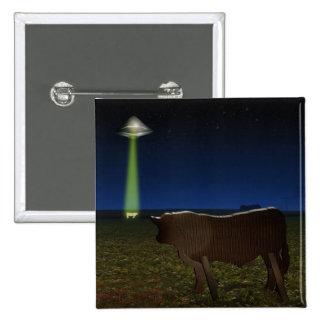 Alien Abduction of Fake Cows in the Pasture 15 Cm Square Badge
