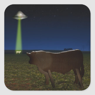 Alien Abduction of Fake Cows in the Pasture Square Stickers