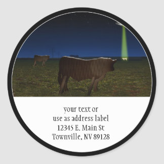 Alien Abduction of Fake Cows in the Pasture Round Sticker