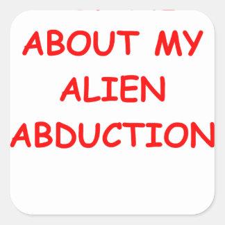 alien abduction square sticker